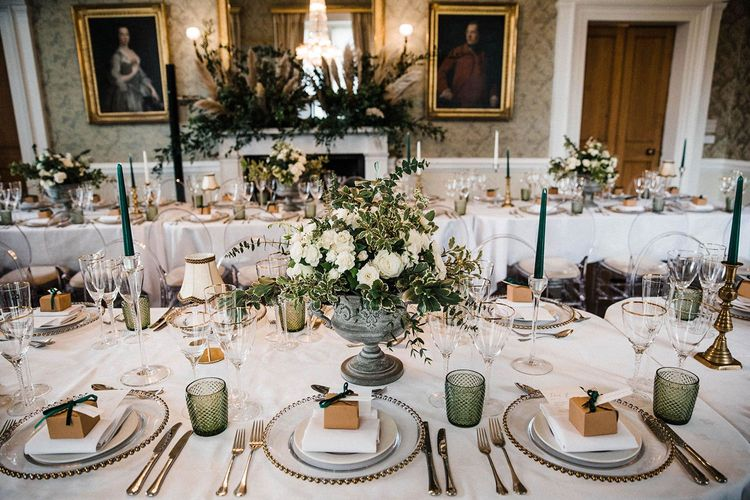 Wedding table decor with floral arrangements and pampas grass at Blairquhan Castle