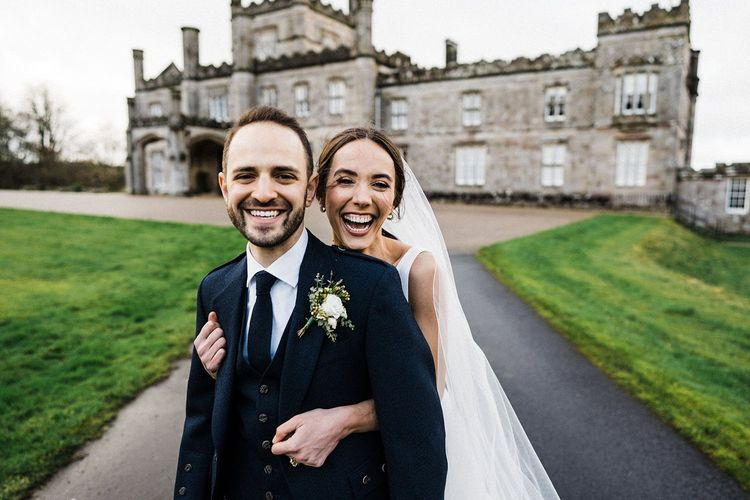 Bride and groom at Blairquhan Castle wedding in Scotland