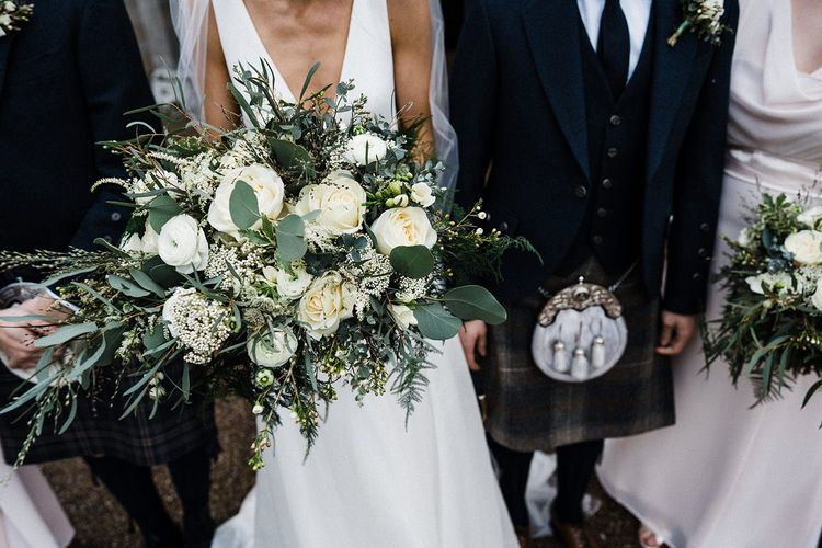 Large white and green wedding bouquet