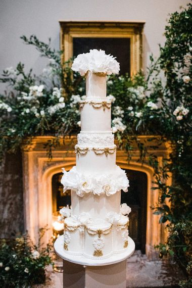 Amazing tall tiered wedding cake