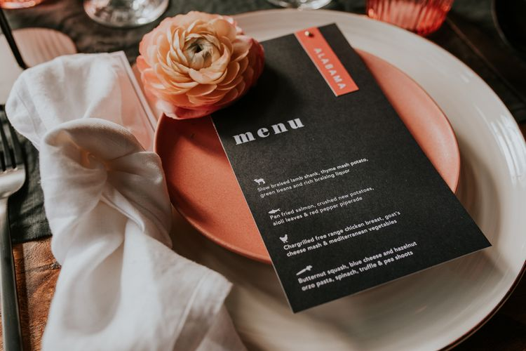 White and Coral Tableware with Statement Menu Card