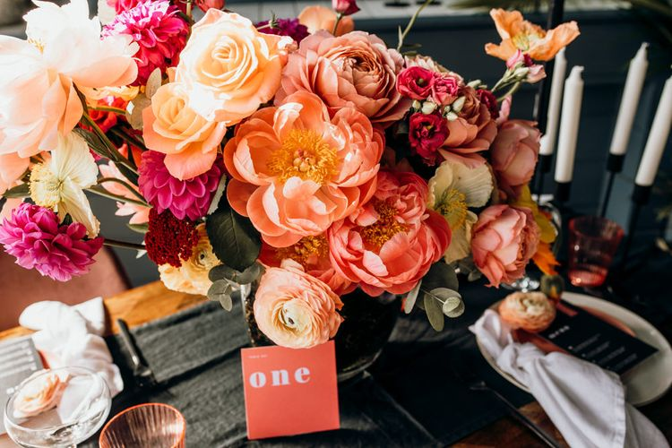 Living Coral Wedding Floral Arrangement with Peonies, Roses, Dahlias and Ranunculus