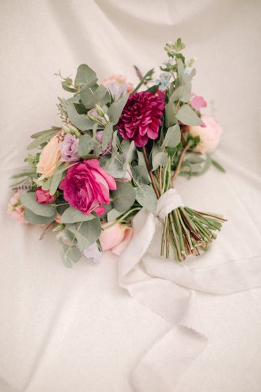 Pink & Peach Romantic Bouquet | Contemporary Elegance Wedding in the Countryside  | M & J Photography | Film by Jacob and Pauline
