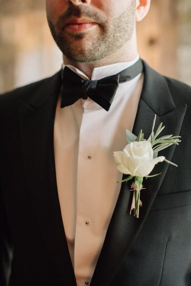 White Rose Buttonhole | Contemporary Elegance Wedding in the Countryside  | M & J Photography | Film by Jacob and Pauline