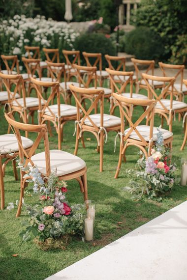 Outdoor Wedding Ceremony Aisle Wedding Flowers | Contemporary Elegance Wedding in the Countryside  | M & J Photography | Film by Jacob and Pauline
