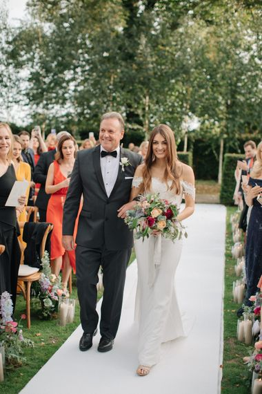 Outdoor Wedding Ceremony | Bridal Entrance in Lace Custom Made Pronovias Wedding Dress | Contemporary Elegance Wedding in the Countryside  | M & J Photography | Film by Jacob and Pauline