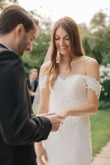 Outdoor Wedding Ceremony | Vows | Bride in Lace Custom Made Pronovias Wedding Dress | Groom in Black Tie | Contemporary Elegance Wedding in the Countryside  | M & J Photography | Film by Jacob and Pauline