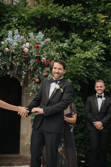 Outdoor Wedding Ceremony | Groom in Black Tie | Contemporary Elegance Wedding in the Countryside  | M & J Photography | Film by Jacob and Pauline