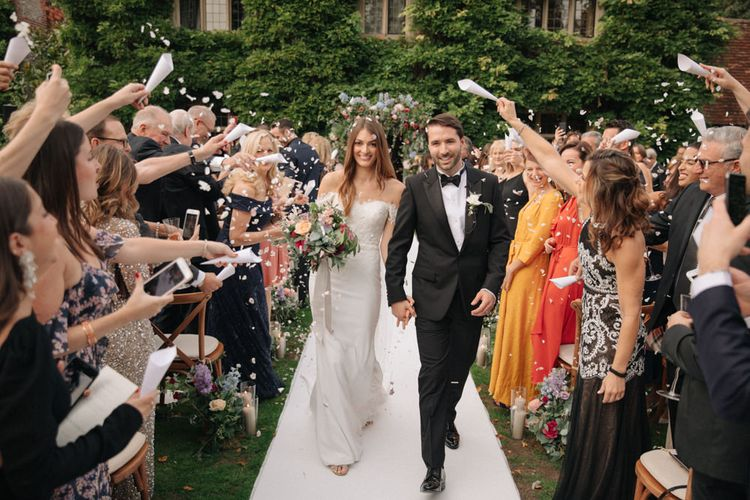 Outdoor Wedding Ceremony | Bride in Lace Custom Made Pronovias Wedding Dress | Groom in Black Tie | Contemporary Elegance Wedding in the Countryside  | M & J Photography | Film by Jacob and Pauline