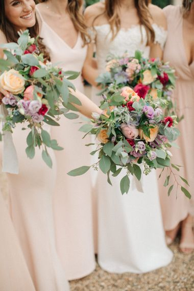 Lilac, Peach, Blue & Pink Wedding Bouquet | Contemporary Elegance Wedding in the Countryside  | M & J Photography | Film by Jacob and Pauline
