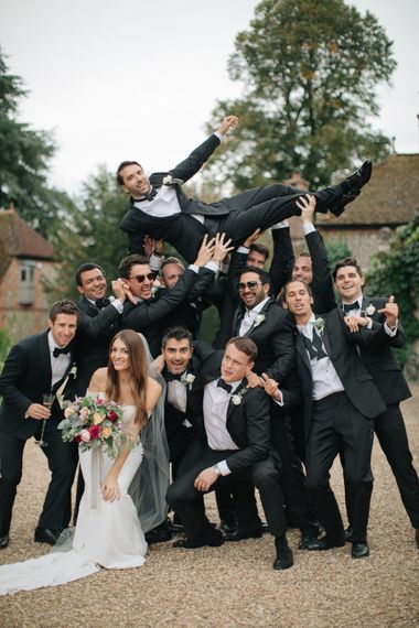 Groomsmen in Black Tie Suit | Contemporary Elegance Wedding in the Countryside  | M & J Photography | Film by Jacob and Pauline