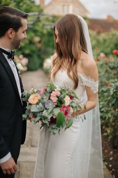 Bride in Lace Custom Made Pronovias Wedding Dress | Groom in Black Tie | Contemporary Elegance Wedding in the Countryside  | M & J Photography | Film by Jacob and Pauline