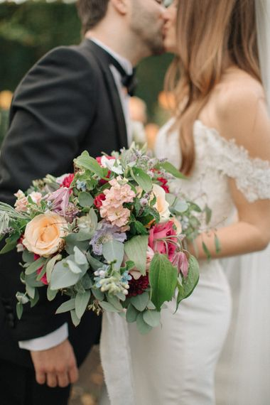 Romantic Pastel Bouquet | Bride in Lace Custom Made Pronovias Wedding Dress | Groom in Black Tie | Contemporary Elegance Wedding in the Countryside  | M & J Photography | Film by Jacob and Pauline
