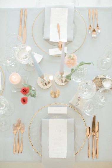 Gold Tableware | Contemporary Elegance Wedding in the Countryside  | M & J Photography | Film by Jacob and Pauline