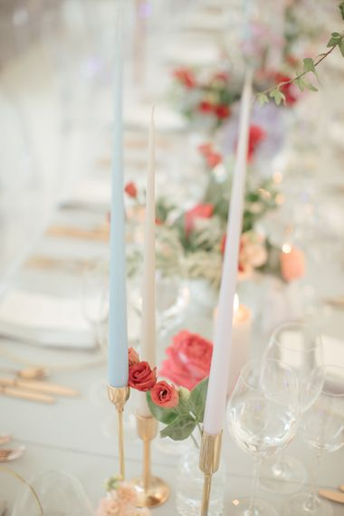 Coloured Taper Candles | WILLOWGOLD Floral Design | Marquee Reception | Contemporary Elegance Wedding in the Countryside  | M & J Photography | Film by Jacob and Pauline