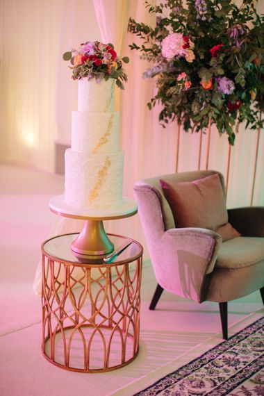 Elegant Wedding Cake with Gold Decor | Contemporary Elegance Wedding in the Countryside  | M & J Photography | Film by Jacob and Pauline