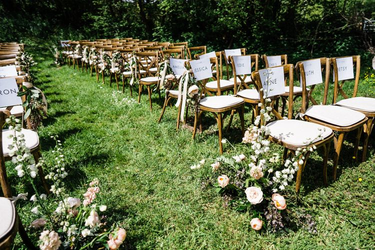 Outdoor Wedding Ceremony Chairs with Aisle Flowers