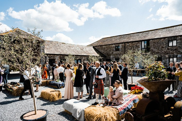 Drinks Reception at Anran Wedding Venue with Hay Bale Seating
