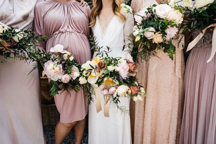 Blush Spring Wedding Bouquets with Peonies and Roses