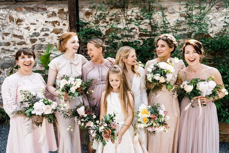 Bridal Party Portrait with Bridesmaids in High Street Dresses