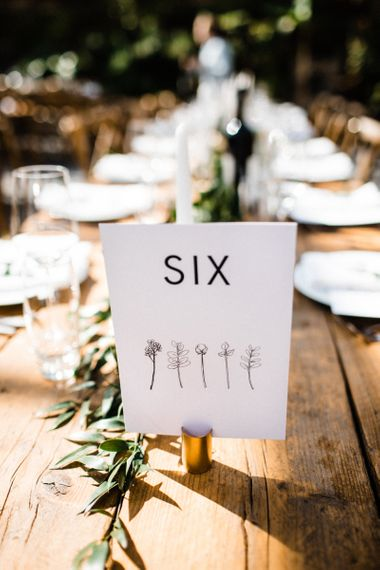 Table Number Sign and Illustration