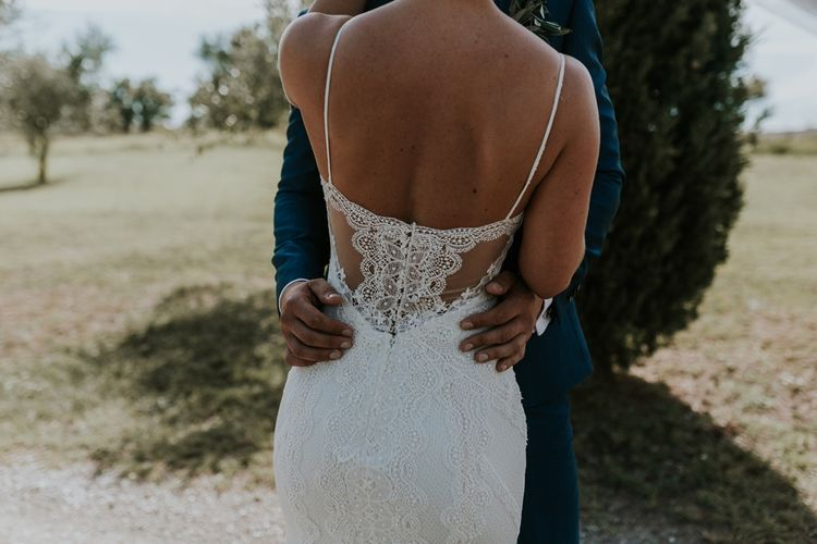 Bride in Sottero & Midgley Wedding Dress  with Lace Back Detail and Spaghetti Straps