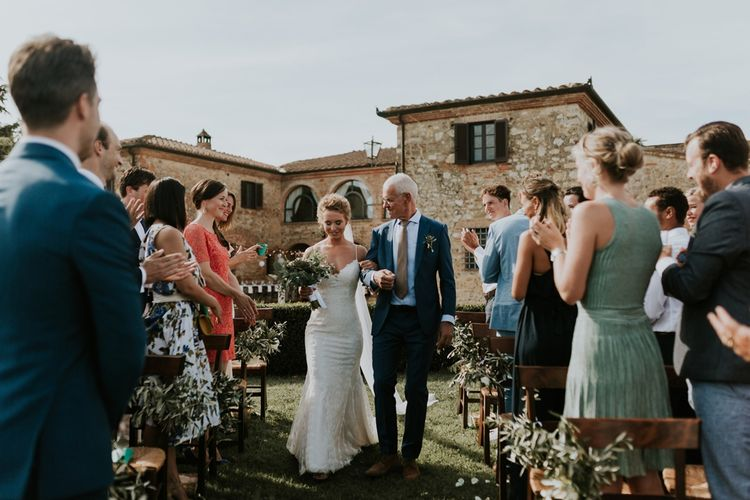 Outdoor Tuscan Wedding Ceremony Bridal Entrance in Lace Sottero & Midgley Wedding Dress