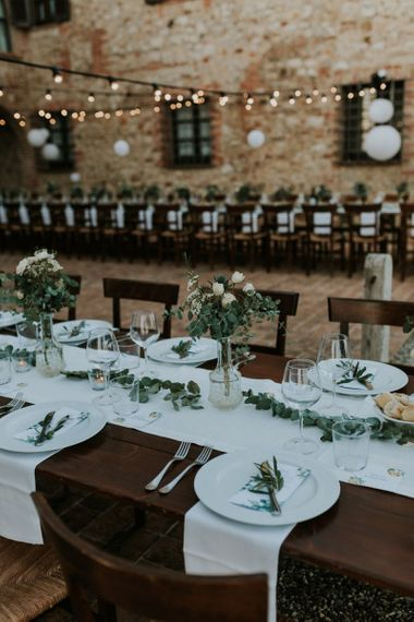 Wedding Reception Table Decor with Foliage Table Runner and White and Green Table Centrepieces