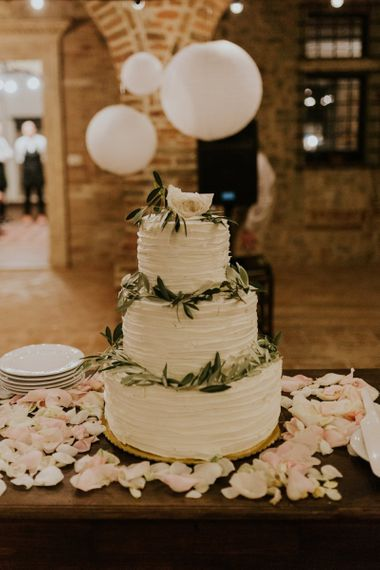 Three Tier Buttercream Wedding Cake with Olive Leaves Decor