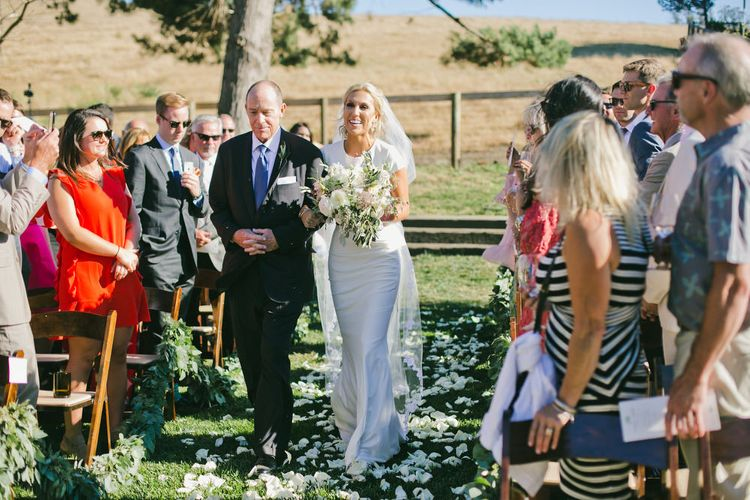 Outdoor Wedding Ceremony Bridal Entrance in Fitted Noel and Jean Bridal Separates