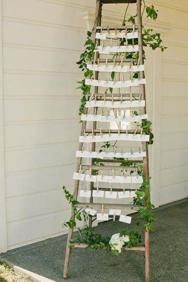 Wooden Ladder with Pegged Escort Cards