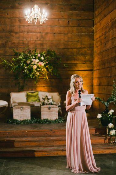 Bridesmaid in Pink Dress Giving Speech