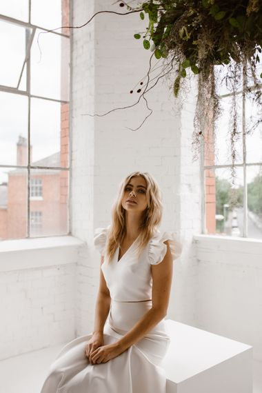 Bridal Separates From Halfpenny London // Minimalist Bridal Inspiration Styled By One Stylish Day With Foliage & Dried Flowers // Bridal Wear By Halfpenny London // Images By Agnes Black