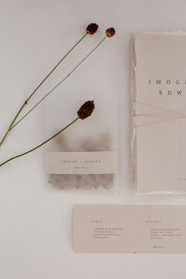 Elegant Minimal Stationery Suite For Wedding // Minimalist Bridal Inspiration Styled By One Stylish Day With Foliage & Dried Flowers // Bridal Wear By Halfpenny London // Images By Agnes Black