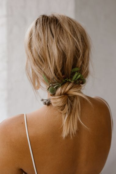 Loose Up Do For Bride // Minimalist Bridal Inspiration Styled By One Stylish Day With Foliage & Dried Flowers // Bridal Wear By Halfpenny London // Images By Agnes Black