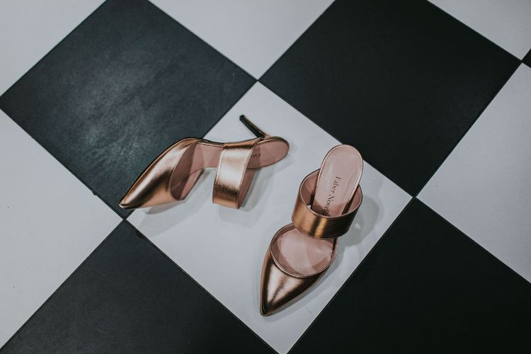 Rose Gold Faber Novella Shoes | Minimalist Monochrome Inspiration with Anemone's & White Genista Flowers styled by The Bijou Bride | Igor Demba Photography | Gione da Silva  Film
