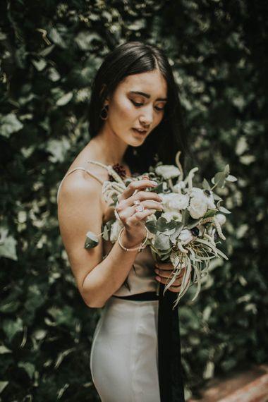 Anemone's & White Genista Bouquet | Minimalist Monochrome Inspiration with Anemone's & White Genista Flowers styled by The Bijou Bride | Igor Demba Photography | Gione da Silva  Film