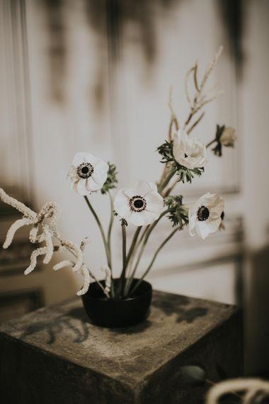 Anemone Stems Floral Arrangement | Minimalist Monochrome Inspiration with Anemone's & White Genista Flowers styled by The Bijou Bride | Igor Demba Photography | Gione da Silva  Film