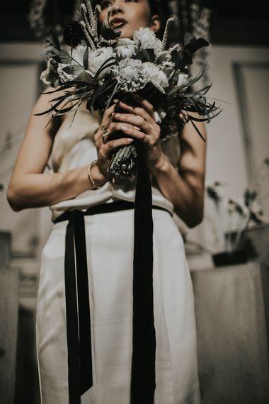 Bride in Slinky Marquis Bridal Gown | Anemone's & White Genista Bouquet | Minimalist Monochrome Inspiration with Anemone's & White Genista Flowers styled by The Bijou Bride | Igor Demba Photography | Gione da Silva  Film