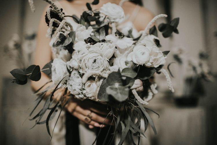 Anemone & Ranunculus Bridal Bouquet | Minimalist Monochrome Inspiration with Anemone's & White Genista Flowers styled by The Bijou Bride | Igor Demba Photography | Gione da Silva  Film