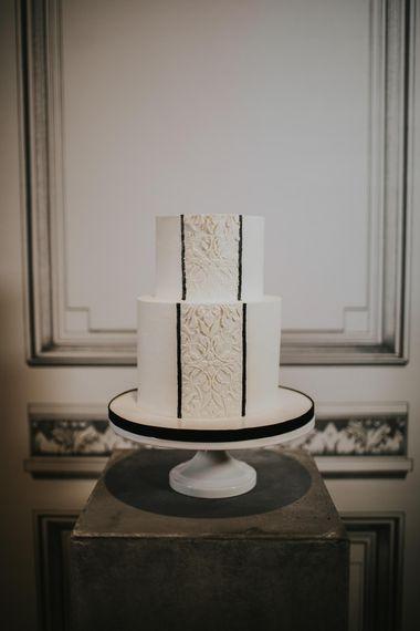 Gaza's Cakes with Lace Front Decor | Minimalist Monochrome Inspiration with Anemone's & White Genista Flowers styled by The Bijou Bride | Igor Demba Photography | Gione da Silva  Film