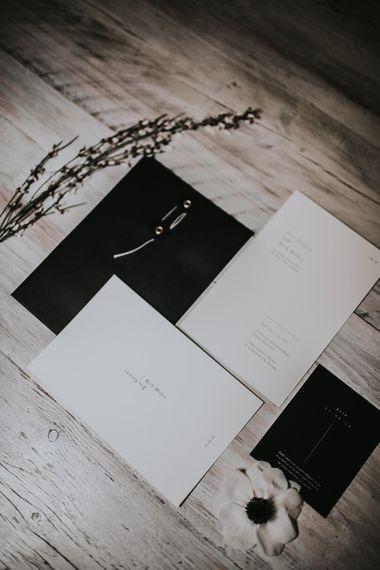Elegant Nat's Paper Studio Wedding Stationery | Minimalist Monochrome Inspiration with Anemone's & White Genista Flowers styled by The Bijou Bride | Igor Demba Photography | Gione da Silva  Film