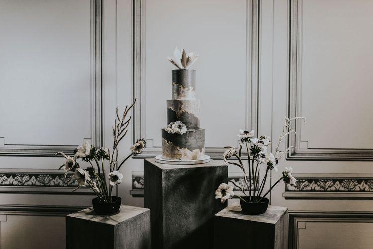Concrete Wedding Cake by Gaza's Cakes | Anemone Stems Floral Arrangement | Minimalist Monochrome Inspiration with Anemone's & White Genista Flowers styled by The Bijou Bride | Igor Demba Photography | Gione da Silva  Film