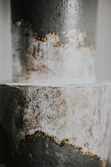 Grey White & Gold Wedding Cake by Gaza's Cakes | Anemone Stems Floral Arrangement | Minimalist Monochrome Inspiration with Anemone's & White Genista Flowers styled by The Bijou Bride | Igor Demba Photography | Gione da Silva  Film