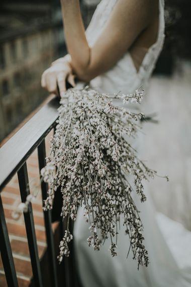 Genista Bridal Bouquet | Minimalist Monochrome Inspiration with Anemone's & White Genista Flowers styled by The Bijou Bride | Igor Demba Photography | Gione da Silva  Film