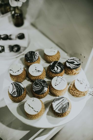 Dessert Table by Gaza's Cakes | Minimalist Monochrome Inspiration with Anemone's & White Genista Flowers styled by The Bijou Bride | Igor Demba Photography | Gione da Silva  Film