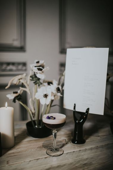 Expresso Martini | Nat's Paper Studio Stationery | Anemone Floral Arrangement | Minimalist Monochrome Inspiration with Anemone's & White Genista Flowers styled by The Bijou Bride | Igor Demba Photography | Gione da Silva  Film