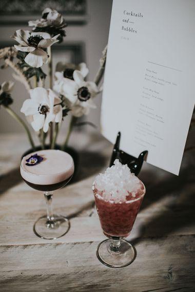 Wedding Cocktails | Minimalist Monochrome Inspiration with Anemone's & White Genista Flowers styled by The Bijou Bride | Igor Demba Photography | Gione da Silva  Film