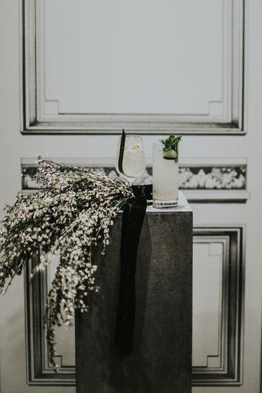 Genista Flowers & Wedding Cocktail | Minimalist Monochrome Inspiration with Anemone's & White Genista Flowers styled by The Bijou Bride | Igor Demba Photography | Gione da Silva  Film