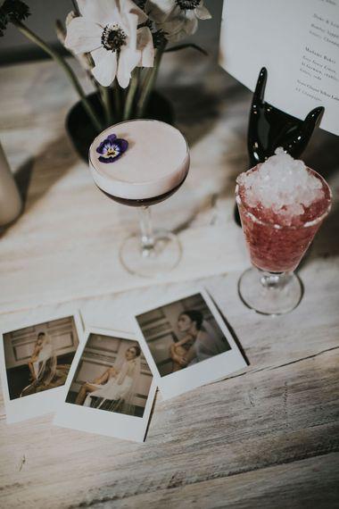 Wedding Cocktails & Polaroids | Minimalist Monochrome Inspiration with Anemone's & White Genista Flowers styled by The Bijou Bride | Igor Demba Photography | Gione da Silva  Film